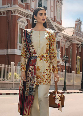 Erum Khan Embroidered Raw Silk Unstitched 3 Piece Suit EK19C DUSTY GOLD - Luxury Collection