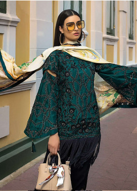 Erum Khan Embroidered Chiffon Unstitched 3 Piece Suit EK19C EMERALD FANTASY - Luxury Collection