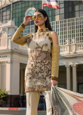 Erum Khan Embroidered Organza Unstitched 3 Piece Suit EK19C MYTHICAL JUNGLE - Luxury Collection