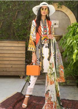 Erum Khan Embroidered Lawn Unstitched 3 Piece Suit EK20L D-03A - Eid Collection