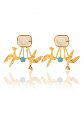 Esfir Jewels  Goldplated  Earrings 2 Birds One Stone Pearl - Ladies Jewellery