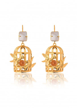 Esfir Jewels  Goldplated  Earrings Birdcage pearl - Ladies Jewellery