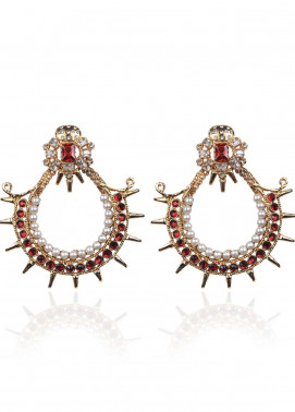 Esfir Jewels  Goldplated  Earrings Dark Shahansha Red - Ladies Jewellery