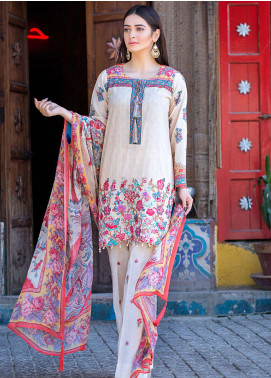 Esha & Isbah Embroidered Lawn Unstitched 3 Piece Suit EI19L 4B HINA - Spring / Summer Collection