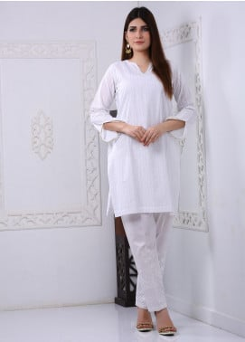 Art Design Embroidered Chicken Stitched Kurti D-02 White