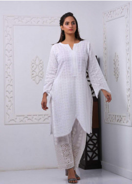 Art Design Embroidered Chicken Stitched Kurti D-03 White