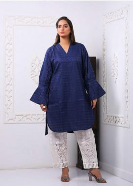 Art Design Embroidered Chicken Stitched Kurti D-04 Blue
