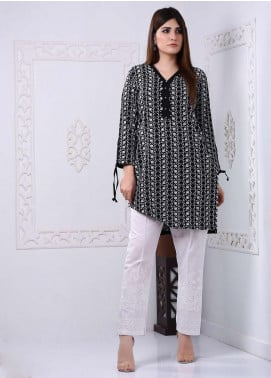 Art Design Embroidered Chicken Stitched Kurti D-05 Black-White