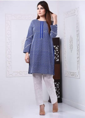 Art Design Embroidered Chicken Stitched Kurti D-09 Blue-White