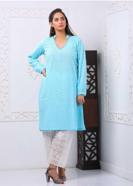 Art Design Embroidered Chicken Stitched Kurti D-10 Sky Blue