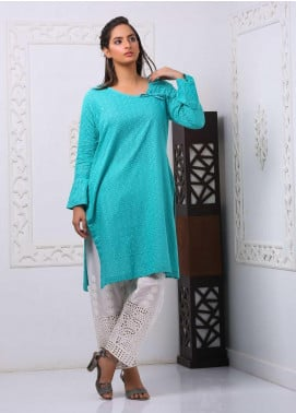 Art Design Embroidered Chicken Stitched Kurti D-12 Blue
