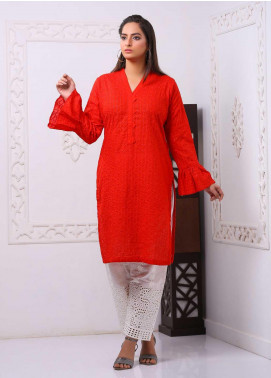 Art Design Embroidered Chicken Stitched Kurti D-13 Red