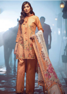 Exotique by Iqra Reza Embroidered Linen Unstitched 3 Piece Suit EX19LN 02 PECHE - Winter Collection