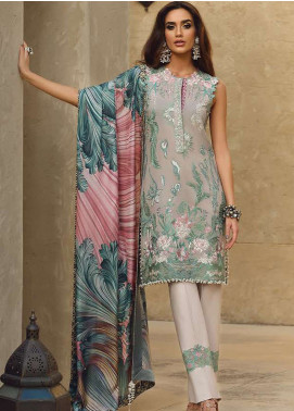 Faraz Manan Embroidered Pima Cotton Unstitched 3 Piece Suit FZM19L 4 - Spring / Summer Collection