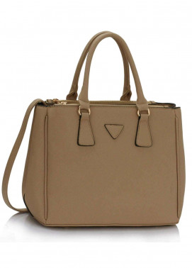 Fashion Only Faux Leather Tote  Bags for Woman - Taupe