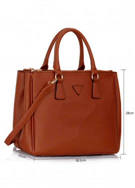 Fashion Only Faux Leather Tote  Bags for Woman - Brown