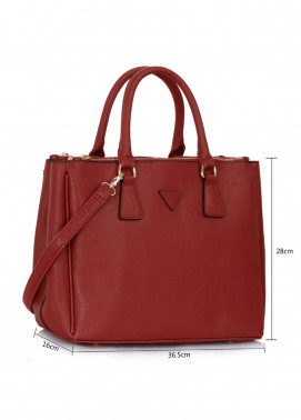 Fashion Only Faux Leather Tote  Bags for Woman - Burgundy