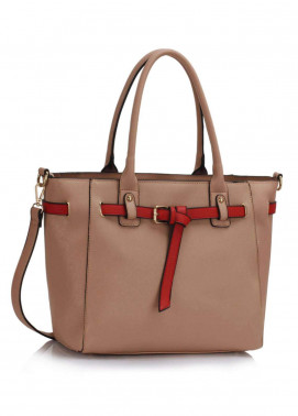 Fashion Only Faux Leather Tote  Bags for Woman - Nude