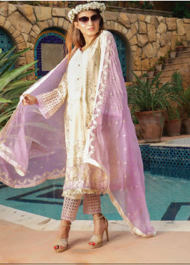 Fateh Embroidered Chiffon Unstitched 3 Piece Suit FT19C Amethyst 07 - Luxury Collection