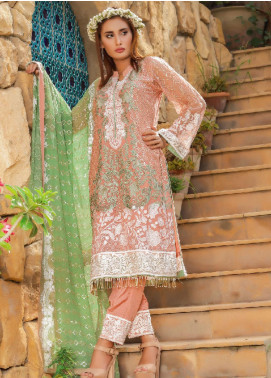 Fateh Embroidered Chiffon Unstitched 3 Piece Suit FT19C Emerald 05 - Luxury Collection