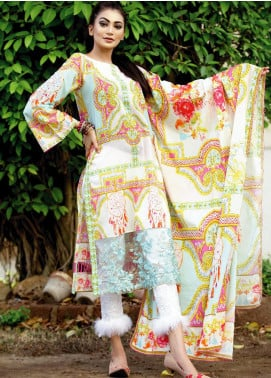 Fateh Printed Lawn Unstitched 2 Piece Suit FT19OR FS-0191 - Mid Summer Collection