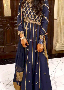 Fayon Embroidered Raw Silk Stitched 3 Piece Suit FB-FK122 Azul