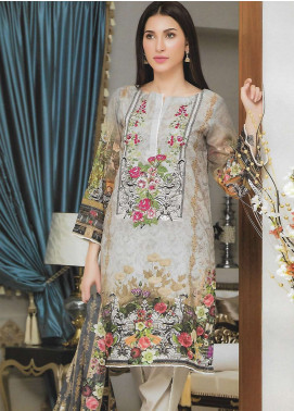 Firdous Fashion Embroidered Lawn Unstitched 3 Piece Suit FF18E 12B - Mid Summer Collection