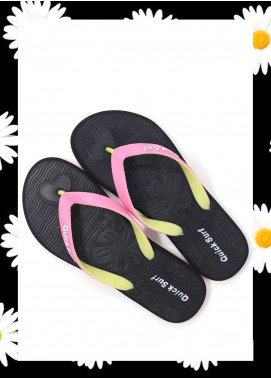 Black Rubber Flip Flops for Ladies FF18W 01