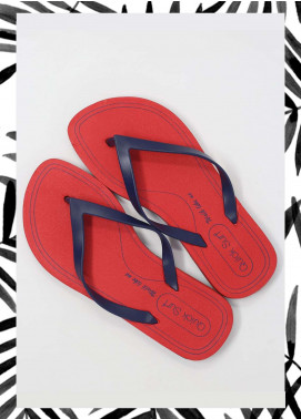 Red Rubber Flip Flops for Ladies FF18W 05