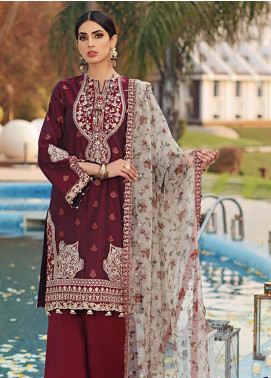 Firaaq by Anaya Embroidered Jacquard Unstitched 3 Piece Suit F20AKC 08 Samra - Luxury Collection