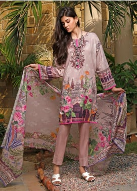 Firdous Fashion Printed Cambric Unstitched 3 Piece Suit FF19W 10A - Winter Collection
