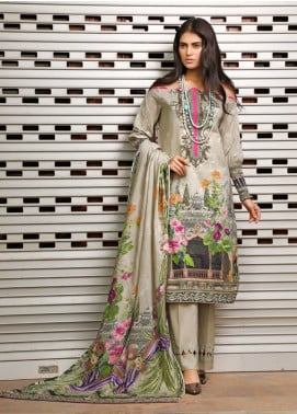 Firdous Fashion Printed Cambric Unstitched 3 Piece Suit FF19W 10B - Winter Collection