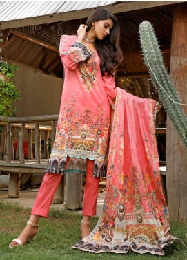 Firdous Fashion Printed Cambric Unstitched 3 Piece Suit FF19W 2A - Winter Collection
