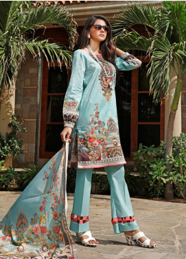 Firdous Fashion Printed Cambric Unstitched 3 Piece Suit FF19W 2B - Winter Collection