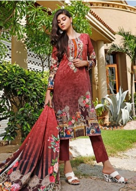 Firdous Fashion Printed Cambric Unstitched 3 Piece Suit FF19W 4A - Winter Collection