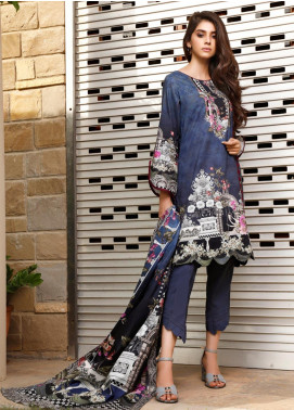 Firdous Fashion Printed Cambric Unstitched 3 Piece Suit FF19W 6B - Winter Collection