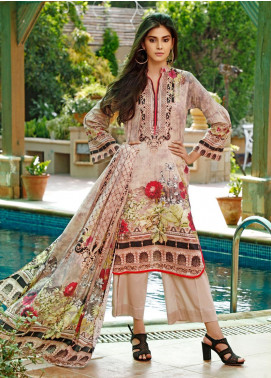 Firdous Fashion Printed Cambric Unstitched 3 Piece Suit FF19W 7B - Winter Collection