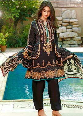 Firdous Fashion Printed Cambric Unstitched 3 Piece Suit FF19W 8A - Winter Collection