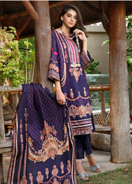 Firdous Fashion Printed Cambric Unstitched 3 Piece Suit FF19W 8B - Winter Collection