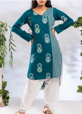 Fitoor Printed Lawn Stitched 2 Piece Suit BP-003 L-Green