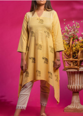 Fitoor Printed Lawn Stitched Kurties BP-007 Yellow