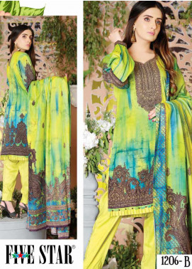 Five Star Printed Lawn Unstitched 3 Piece Suit FS20CL-1 1206B - Spring / Summer Collection