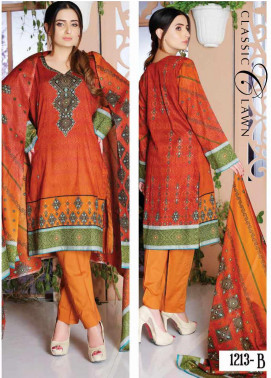 Five Star Printed Lawn Unstitched 3 Piece Suit FS20CL-1 1213B - Spring / Summer Collection