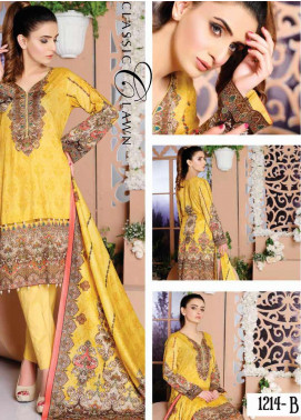 Five Star Printed Lawn Unstitched 3 Piece Suit FS20CL-1 1214B - Spring / Summer Collection