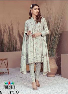 Five Star Printed Linen Unstitched 3 Piece Suit FS20LN D-193-A - Winter Collection