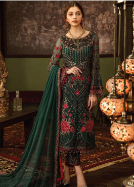 Flossie Embroidered Chiffon Unstitched 3 Piece Suit FL19-C5 02 RUBY WOA - Luxury Collection