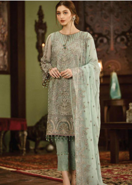 Flossie Embroidered Chiffon Unstitched 3 Piece Suit FL19-C5 04 CRYSTALLIA - Luxury Collection