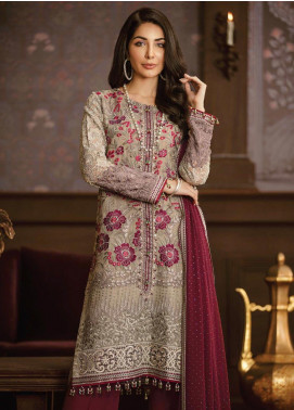 Flossie Embroidered Chiffon Unstitched 3 Piece Suit FL19-C5 05 CARONATION - Luxury Collection