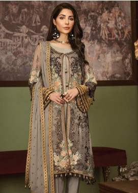 Flossie Embroidered Chiffon Unstitched 3 Piece Suit FL19-C5 07 KYANITE - Luxury Collection