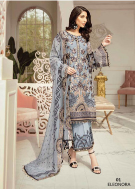 Flossie Embroidered Chiffon Unstitched 3 Piece Suit FL20LC 1 - Luxury Collection